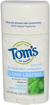 Baño, Belleza, Desodorante Toms of Maine, Natural Long Lasting Deodorant, Aluminum-Free, Maine Woodspice, 2.25 oz (64 g)