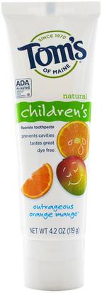 Crema Dental Para Baño, Belleza, Pasta De Dientes, Niños Y Bebé Toms of Maine, Natural Childrens Fluoride Toothpaste, Outrageous Orange Mango, 4.2 oz (119 g)