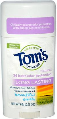 Baño, Belleza, Desodorante Toms of Maine, Natural Long Lasting, Aluminum-Free, Womens Deodorant, Beautiful Earth, 2.25 oz (64 g)