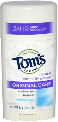 Baño, Belleza, Desodorante Toms of Maine, Original Care Deodorant, Aluminum-Free, Unscented, 2.25 oz (64 g)