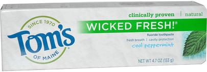 Baño, Belleza, Pasta De Dientes Toms of Maine, Wicked Fresh! Fluoride Toothpaste, Cool Peppermint, 4.7 oz (133 g)