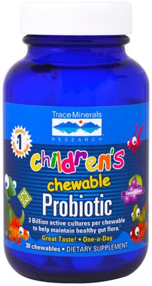 Suplementos, Probióticos, Probióticos Infantiles, Probióticos Estabilizados Trace Minerals Research, Childrens Chewable Probiotic, Concord Grape, 30 Chewables