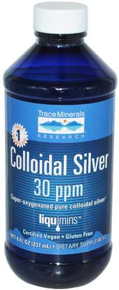 Suplementos, Plata Coloidal Trace Minerals Research, Colloidal Silver, 30 ppm, 8 fl oz (237 ml)