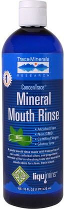 Suplementos, Minerales, Minerales, Baño, Belleza, Cuidado Dental Bucal, Enjuague Bucal Trace Minerals Research, ConcenTrace Mineral Mouth Rinse, Mint, 16 fl oz (473 ml)