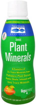 Suplementos, Minerales, Minerales Líquidos, Minerales Traza Trace Minerals Research, Ionic Plant Minerals, Tangerine Flavor, 17 fl oz (503 ml)