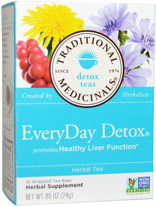 Comida, Té De Hierbas, Desintoxicación Traditional Medicinals, Detox Teas, EveryDay Detox, 16 Wrapped Tea Bags.85 oz (24 g)