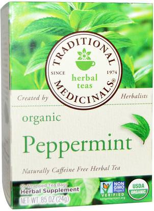 Comida, Té De Hierbas, Té De Menta Traditional Medicinals, Herbal Teas, Organic Peppermint, Naturally Caffeine Free, 16 Wrapped Tea Bags.85 oz. (24 g)