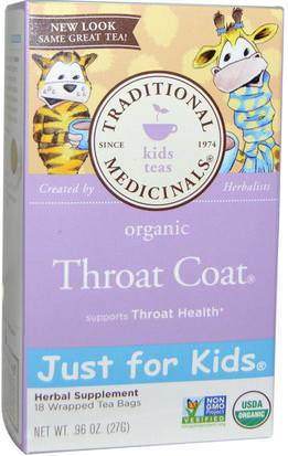 Comida, Té De Hierbas Traditional Medicinals, Just for Kids, Organic Throat Coat, Naturally Caffeine Free Herbal Tea, 18 Wrapped Tea Bags.96 oz (27 g)