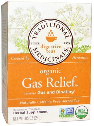 Salud Traditional Medicinals, Digestive Teas, Organic Gas Relief Tea, Naturally Caffeine Free, 16 Wrapped Tea Bags.85 oz (24 g)