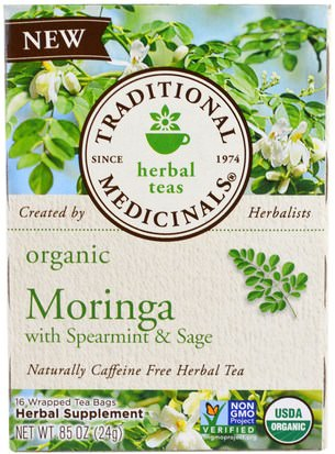 Comida, Té De Hierbas, Hierbabuena Traditional Medicinals, Organic Moringa with Spearmint & Sage, 16 Wrapped Tea Bags, 86 oz (24 g)
