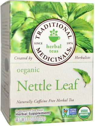 Comida, Té De Hierbas, Picadura De Ortigas Traditional Medicinals, Herbal Teas, Organic Nettle Leaf Herbal Tea, Naturally Caffeine Free, 16 Wrapped Tea Bags, 1.13 oz (32 g)