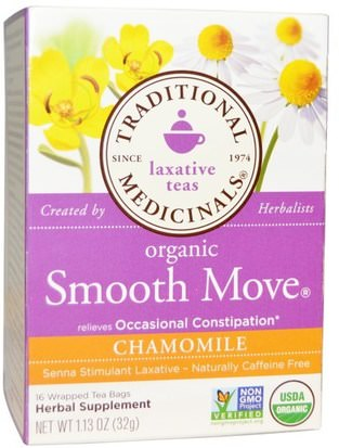 Salud, Estreñimiento, Comida, Té De Hierbas, Té De Manzanilla Traditional Medicinals, Laxative Teas, Organic Smooth Move, Chamomile, Naturally Caffeine Free Herbal Tea, 16 Wrapped Tea Bags, 1.13 oz (32 g)