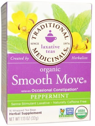 Salud, Estreñimiento, Comida, Té De Hierbas, Té De Menta Traditional Medicinals, Laxative Teas, Organic Smooth Move, Peppermint, Naturally Caffeine Free Herbal Tea, 16 Wrapped Tea Bags, 1.13 oz (32 g)