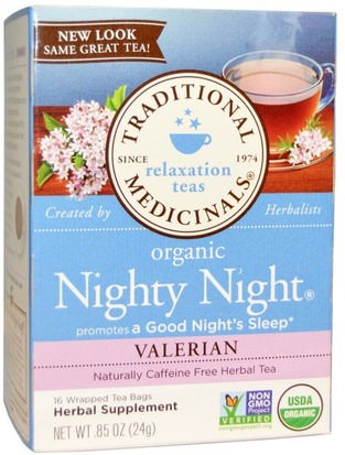 Hierbas, Valeriana Traditional Medicinals, Relaxation Teas, Organic Nighty Night, Naturally Caffeine Free Herbal Tea, Valerian, 16 Wrapped Tea Bags.85 oz (24 g)