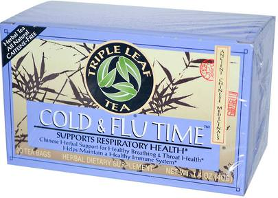 Salud, Gripe Fría Y Viral, Resfriado Y Gripe Triple Leaf Tea, Cold & Flu Time, 20 Tea Bags, 1.4 oz (40 g)