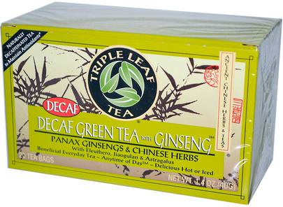 Comida, Té De Hierbas, Té De Ginseng, Suplementos, Adaptógeno Triple Leaf Tea, Decaf Green Tea with Ginseng, 20 Tea Bags 1.4 oz (40 g) Each