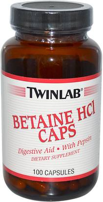 Suplementos, Betaína Hcl Twinlab, Betaine HCL Caps, 100 Capsules