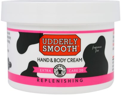 Baño, Belleza, Loción Corporal, Cremas Para Manos Udderly Smooth, Udderly Smooth, Hand & Body Cream, Extra Care 20, 8 oz (227 g)