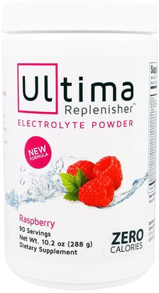 Deportes, Reposición De Bebida Electrolítica Ultima Health Products, Ultima Replenisher Electrolyte Powder, Raspberry, 10.2 oz (288 g)