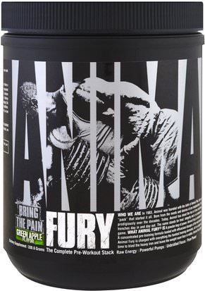 Deportes, Entrenamiento, Músculo Universal Nutrition, Animal Fury, The Complete Pre-Workout Stack, Green Apple, 330.6 g