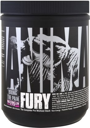 Deportes, Entrenamiento, Músculo Universal Nutrition, Animal Fury, The Complete Pre-Workout Stack, Watermelon, 320.6 g