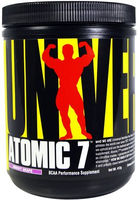 Bcaa (Aminoácido De Cadena Ramificada), Deportes, Entrenamiento, Deporte Universal Nutrition, Atomic 7, BCAA Performance Supplement, Groovy Grape, 412 grams