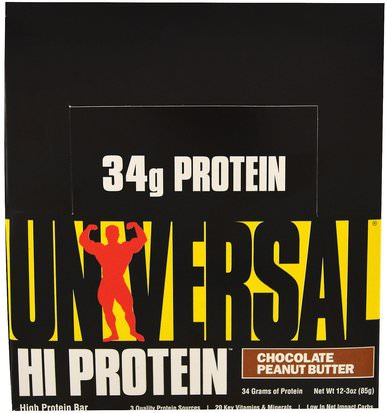 Barras De Proteína Universal Nutrition, HiProtein Bar, Chocolate Peanut Butter, 16 Bars, 3 oz (85 g) Each