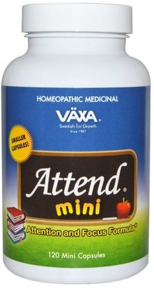 Suplementos, Homeopatía, Trastorno Por Déficit De Atención, Agregar, Adhd Vaxa International, Attend Mini, Attention and Focus Formula, 120 Mini Capsules