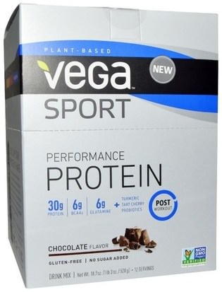 Deportes, Deporte, Proteína Vega, Sport Performance Protein Drink Mix, Chocolate Flavor, 12 Packets, 1.6 oz (44 g) Each