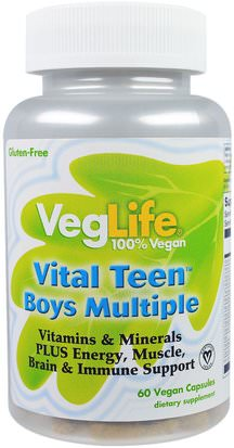 Vitaminas, Multivitaminas, Niños Multivitaminas VegLife, Vital Teen Boys Multiple, 60 Vegan Capsules