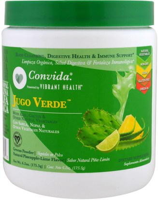 Suplementos, Superalimentos Vibrant Health, Convida Jugo Verde, Greens Powder, Pineapple-Lime, 6.2 oz (175.5 g)