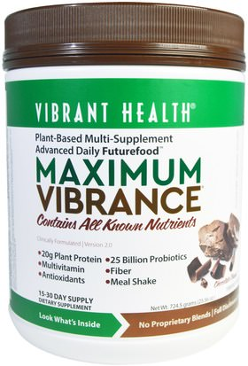 Suplementos, Batidos Sustitutivos De Comidas, Superalimentos Vibrant Health, Maximum Vibrance, Version 2.0, Chocolate Chunk, 25.56 oz (724.5 g)
