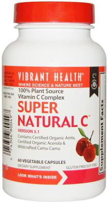 Vitaminas, Vitamina C, Vitamina C Alimentos Integrales Vibrant Health, Super Natural C, Version 3.1, 60 Veggie Caps