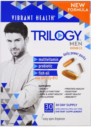 Vitaminas, Hombres, Multivitaminas Vibrant Health, Trilogy Men, Daily Power Packs, Version 2.0, 30 Packets