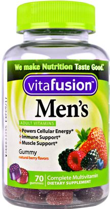 Vitaminas, Hombres Multivitaminas, Gomitas VitaFusion, Mens Complete Multivitamin, Natural Berry Flavors, 70 Gummies