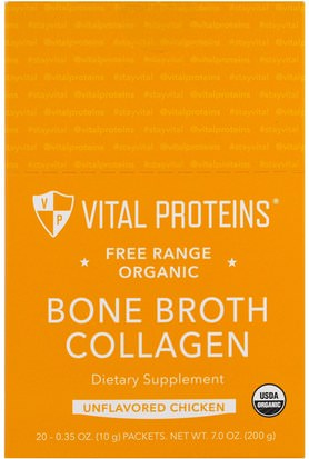 Salud, Hueso, Osteoporosis, Colágeno Vital Proteins, Free Range Organic, Bone Broth Collagen, Unflavored Chicken, 20 Packets, 0.35 oz (10 g) Each