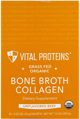 Salud, Hueso, Osteoporosis, Colágeno Vital Proteins, Grass Fed Organic, Bone Broth Collagen, Unflavored Beef, 20 Packets, 0.35 oz (10 g) Each