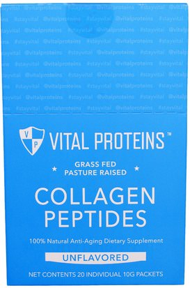 Salud, Hueso, Osteoporosis, Colágeno Vital Proteins, Grass Fed Pasture Raised, Collagen Peptides, Unflavored, 20 Individual Packets (10 g)