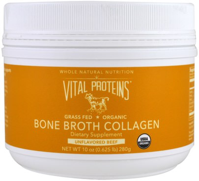 Salud, Hueso, Osteoporosis, Colágeno Vital Proteins, Organic, Bone Broth Collagen, Unflavored Beef, 10 oz (280 g)