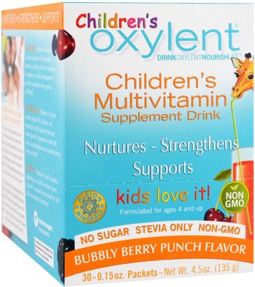 Vitaminas, Multivitaminas, Niños Multivitaminas Vitalah, Childrens Oxylent,Multivitamin Supplement Drink, Bubbly Berry Punch, 30 Stick Packets, 4.5 g Each