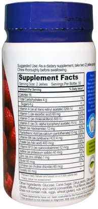 Yum-Vs, Multi Vitamin, for Adults,Raspberry Flavor, 60 Jelly Vitamins Vitaminas, Multivitaminas, Gominolas Multivitamínicas