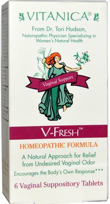 Suplementos, Homeopatía Mujeres Vitanica, V-Fresh, Vaginal Support, 6 Vaginal Suppository Tablets