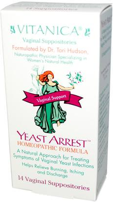Suplementos, Homeopatía Mujeres Vitanica, Yeast Arrest, Vaginal Support, 14 Vaginal Suppositories