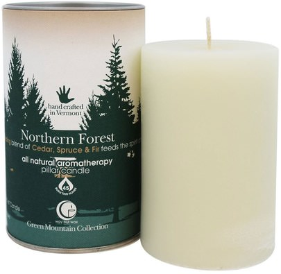 Baño, Belleza, Velas Way Out Wax, Green Mountain Collection, Pillar Candle, Northern Forest, One 2.75 x 4 Candle