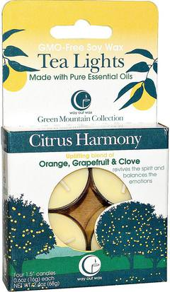 Baño, Belleza, Velas Way Out Wax, Tea Lights, Citrus Harmony, 4 Candles, 0.6 oz (16 g) Each