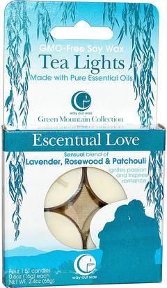 Baño, Belleza, Velas Way Out Wax, Tea Lights, Escentual Love, 4 Candles, 0.6 oz (16 g) Each