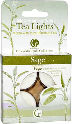 Baño, Belleza, Velas Way Out Wax, Tea Lights, Sage, 4 Candles, 0.6 oz (16 g) Each