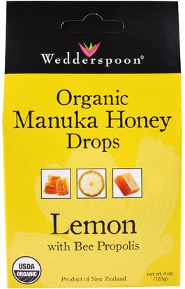 Salud, Pulmonar Y Bronquial, Pastillas Para La Tos Wedderspoon, Organic Manuka Honey Drops, Lemon With Bee Propolis, 4 oz (120 g)