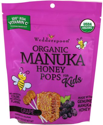 Comida, Bocadillos, Dulces Wedderspoon, Organic Manuka Honey Pops For Kids, Grape, 24 Count, 4.15 oz