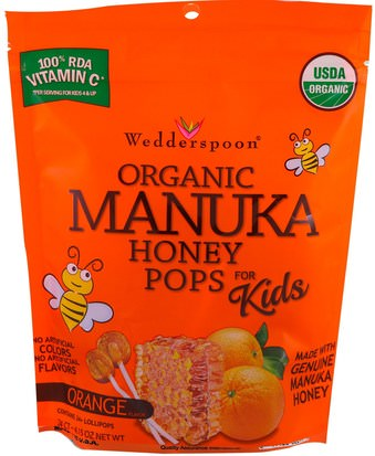 Comida, Bocadillos, Dulces Wedderspoon, Organic Manuka Honey Pops for Kids, Orange, 24 Count, 4.15 oz